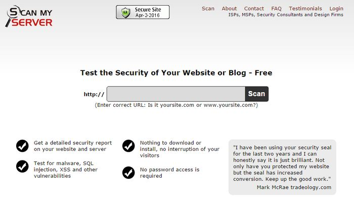 Scan My Server test online