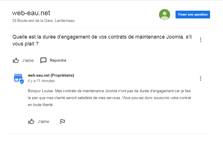Google My Business questions réponses popup