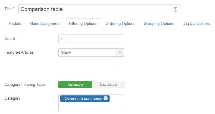 Articles Categorie Module - Filtering Options