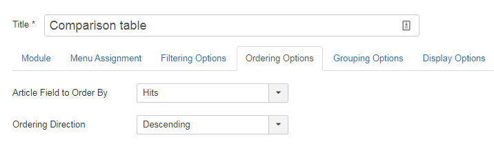 Articles Categorie Module - Ordering Options