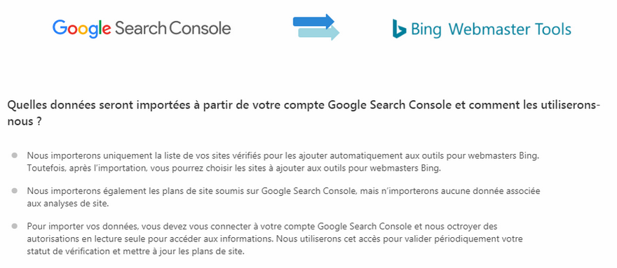 Bing Webmaster Tool - Import compte Google Search Console avertissement