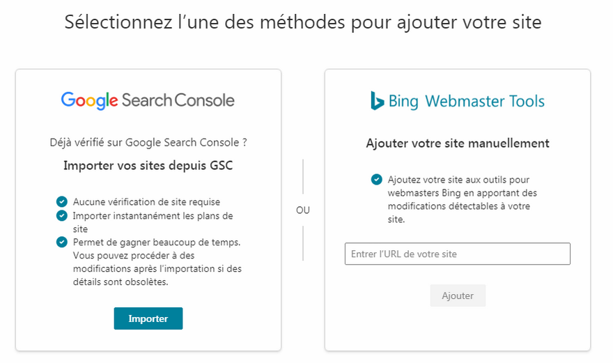 Bing Webmaster Tool - Import compte Google Search Console