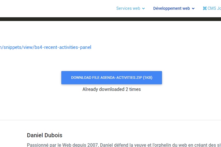 Download override button - Joomla override