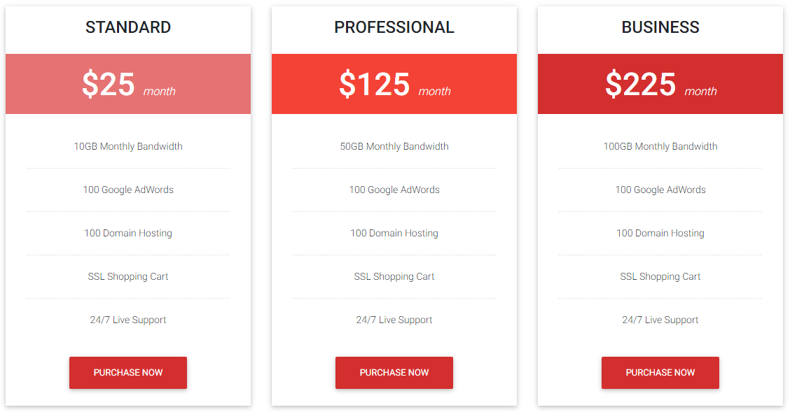 Preview Pricing Table