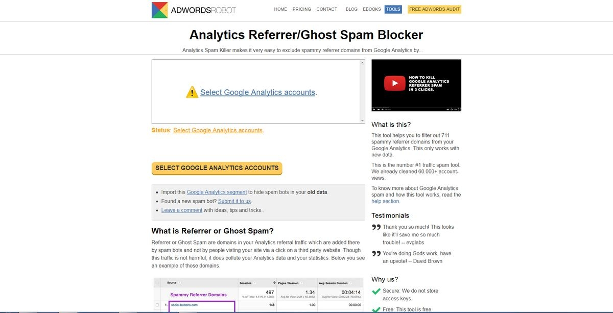 Google Referrer Spam Killer