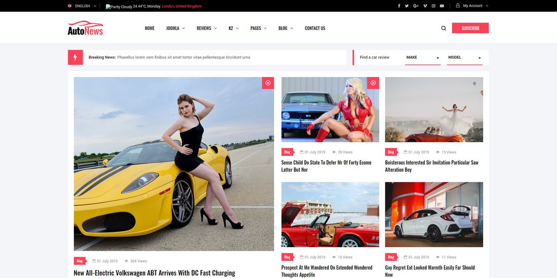 Auto News Joomla Template