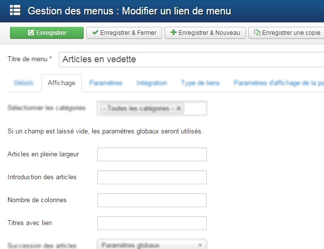 Article en vedette Joomla