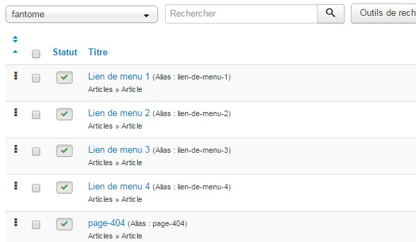 Structure menu Joomla