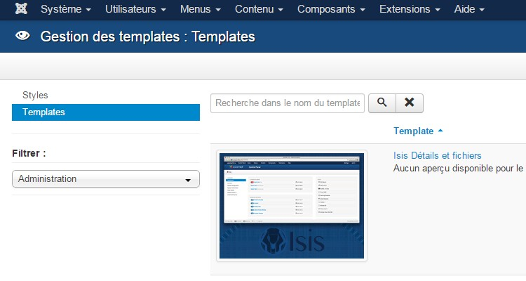 Tutoriel joomla personnaliser l 39 administration de joomla for Joomla backend templates