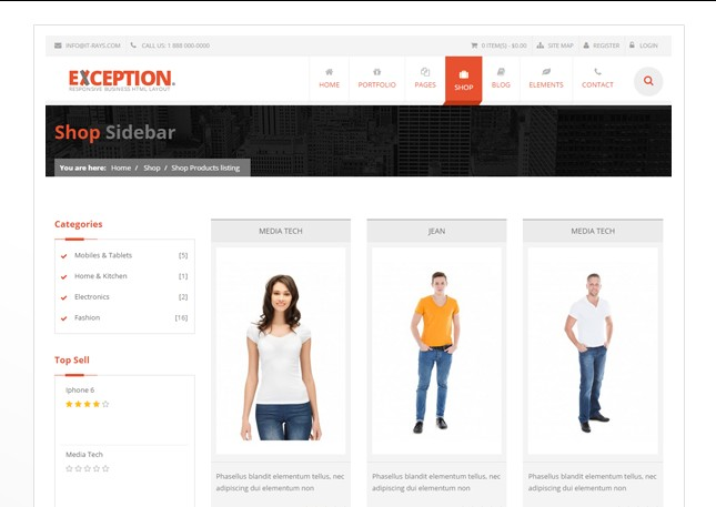 Exemple de template e-commerce